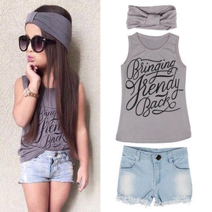 Summer Girls Clothing Sets Kid Baby Girls Vest Top Clothes   + Jeans Pants Shorts+Scarf Suit Outfit Vetement Enfant Fille Ropa