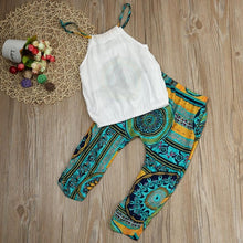 Load image into Gallery viewer, 2 Piece Children's Wear Girls Solid Color T-shirt Top + Pants Summer Bohemian Beach Clothing Set Summer Baby  Roupas