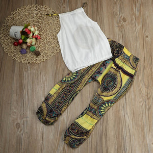 2 Piece Children's Wear Girls Solid Color T-shirt Top + Pants Summer Bohemian Beach Clothing Set Summer Baby  Roupas