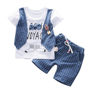 Toddler Boy Summer 2019 Clothes Fashion Plaid Letter Print Kids Set With Bow Boys Clothing Casual Pockets Children Boy Set