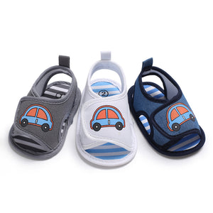 Baby male baby buckle cotton sandals children casual cartoon car pattern shoes Hook Loop single shoes 2019 summer bestseller