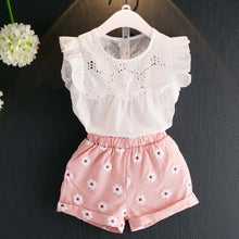Load image into Gallery viewer, 2pcs Kids Baby Girls Summer Outfits Lace Tops Floral Shorts Pants Clothes Sets Children Kid Girl Cute Clothing Lolly Top+Pants