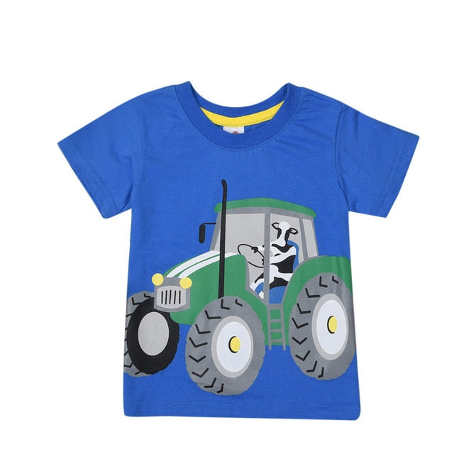Handsome Boy Sunny Child Short Sleeve Cartoon Tractor Print T-Shirt Top Boys Clothing Sets Summer Baby Clothe Roupa De Menino