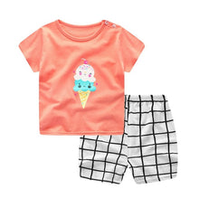 Load image into Gallery viewer, Cotton Baby Sets Boy Clothes Summer Baby Cartoon Printing Tops T-shirt + Shorts Trousers Set Toddler Clothing Baby Boy Clothes