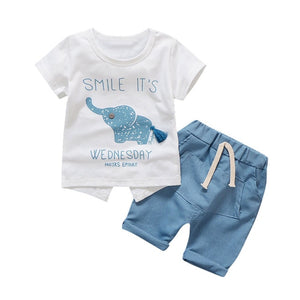 Baby Boy Clothing Set Summer Infant Clothes Elephant Short Sleeve T-shirts Tops Pants Kids Boys Girls Sunsuit Jogging Suits