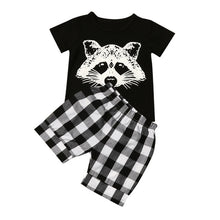 Load image into Gallery viewer, New summer children's suit boy fox head plaid striped T-shirt suit casual fashion sports children's clothing cartoon cute sets