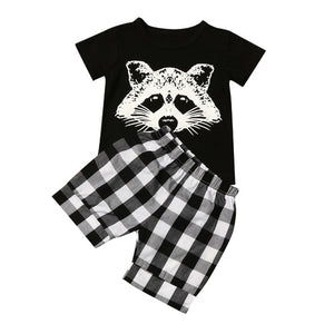New summer children's suit boy fox head plaid striped T-shirt suit casual fashion sports children's clothing cartoon cute sets