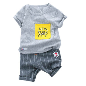 Toddler Kids Boy Clothing Set Casual Baby Boys Letter T-shirt Tee Top Stripe Shorts Trousers Outfits Set Summer Children Suit