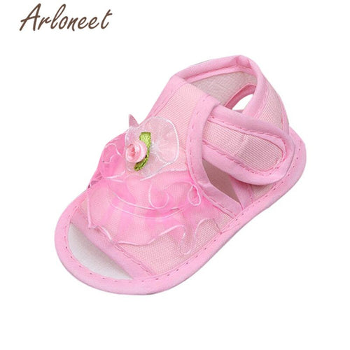 ARLONEET 2019 Newborn Girls baby cotton fabric Canvas Anti-slip Shoes lace Flower print Sneaker Toddle Baby Cloth Crib Shoes