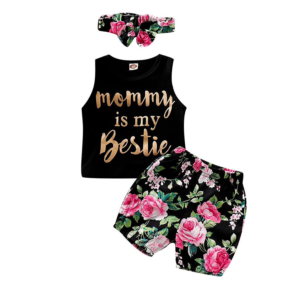 3Pcs Summer Kid Girls Clothes Fashion Letter Print Vest+Floral Shorts+Headband Girls Outfits Kids Clothing For Girls Sets