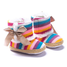 Load image into Gallery viewer, Newborn Baby Rainbow Wool Infant cotton Padded Shoes Boots for Winter and Snow