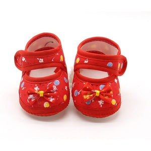 Summer Baby Girl Cloth Soft Sole Booties First Walkers Round Dot Prewalker Shoes With Bowknot Shoes