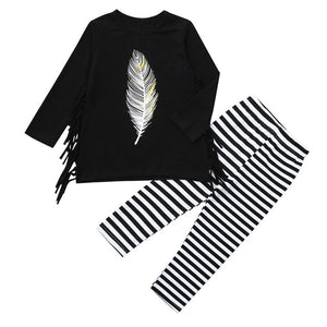 Toddler Baby Girls Clothes Suit Long Sleeve Tassel Feather Print Tops+Striped Pants Outfit Casual Children Baby Girl Clothing