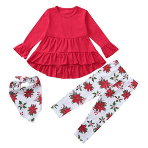 3pcs Baby girls Clothes Toddler Baby Girls Solid Dresses Floral Print Pants Scarf Outfits Girls Clothes Suit Casual Clothing Set