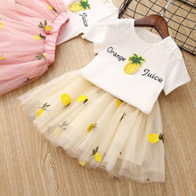 Load image into Gallery viewer, 2019 Cute Baby Girls Clothes Sets Cartoon Pineapple Print T shirts + Tutu Lace Skirts 2PCS Suit Casual Apparel Clothing Outfit