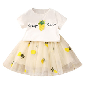 2019 Cute Baby Girls Clothes Sets Cartoon Pineapple Print T shirts + Tutu Lace Skirts 2PCS Suit Casual Apparel Clothing Outfit