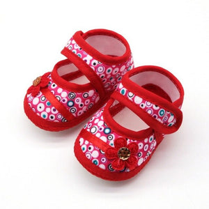 3 Styles Little Princess Canvas Baby Shoes Baby Girl Floral Print Soft-Soled Crib Shoes Flower insert prewalkers