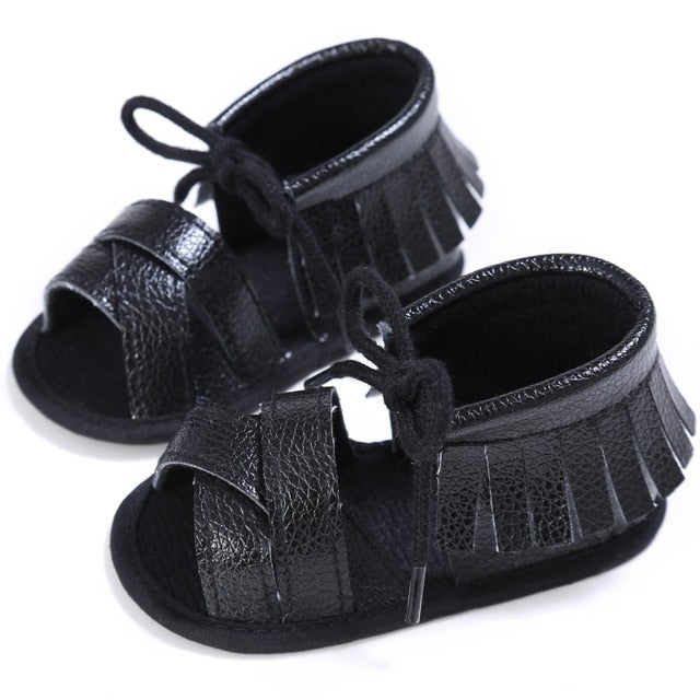 Summer Tassel Baby Shoes Soft Non-slip Crib Infant Girl Shoes Moccasins Sandal Baby Girls Sandals 0-18M US Shipping
