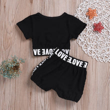Load image into Gallery viewer, summer girls boys letter print children clothing set baby clothes short-sleeve T-shirt pant kids sport suit