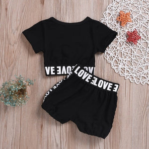 summer girls boys letter print children clothing set baby clothes short-sleeve T-shirt pant kids sport suit