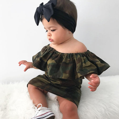 Children's clothing 2019 Toddler Kid Baby Girl Camouflage Printed Off Shoulder Princess Dress Clothes Casual Comfortable@5