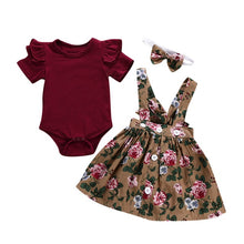 Load image into Gallery viewer, Telotuny kid Casual Clothing Set 100% Cotton 3Pcs Baby Toddler Girls Kids Overalls Skirt +Headband+Romper Clothes Outfits JU 133