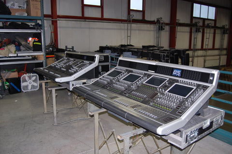 Digico D5 System, Two (2) Work Surfaces with Road Cases, BEING SOLD AS IS