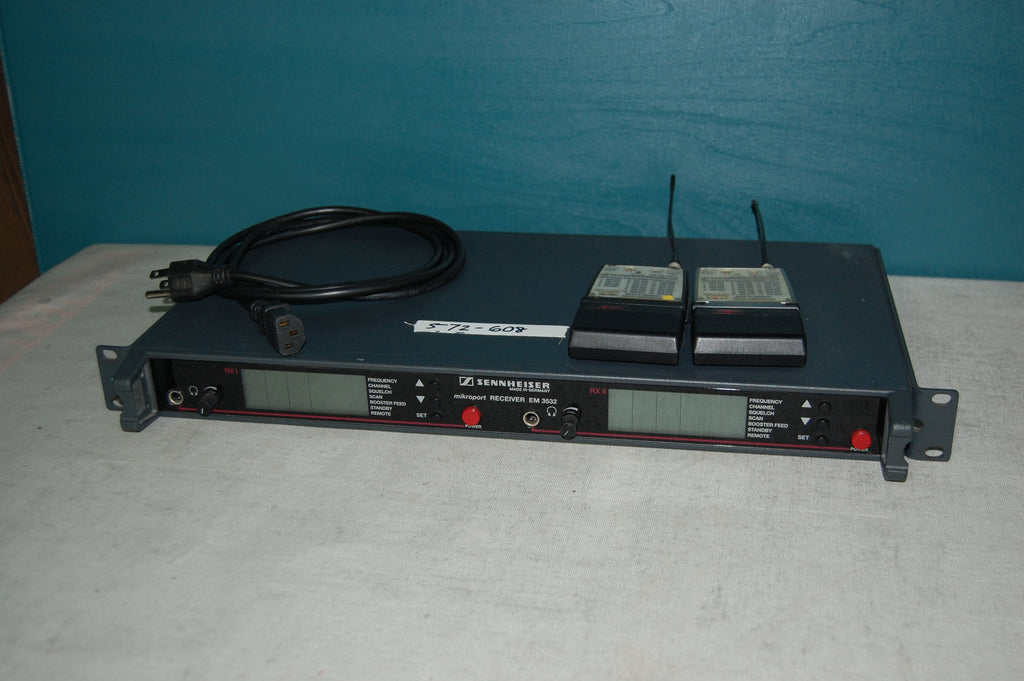 Sennheiser EM 3532 Dual Channel Receiver With Two (2) Body Pack Transmitters