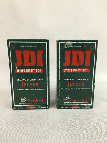 Used Radial Engineering, JDI JT-DBE Direct Box, Mono, Passive for Sale. We Sell Professional Audio Equipment. Audio Systems, Amplifiers, Consoles, Mixers, Electronics, Entertainment, Live Sound