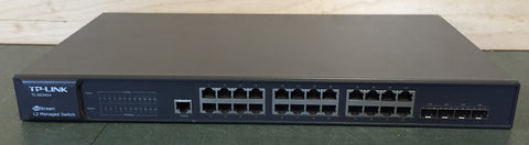 Used TP-Link JetStream 24-Port Gigabit L2 Managed Switch with 4 SFP Slots, TL-SG3424 For Sale. We Sell Professional Audio Equipment. Audio Systems, Amplifiers, Consoles, Mixers, Electronics, Entertainment, Live Sound