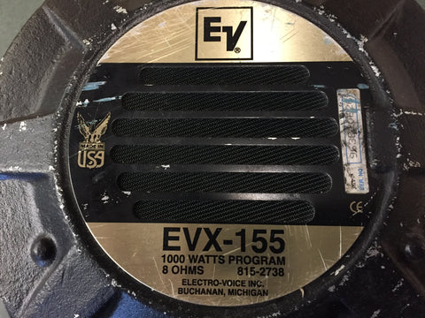 "Used EV EVX 155 15"" Drivers, 8 ohm for Sale. We Sell Professional Audio Equipment. Audio Systems, Amplifiers, Consoles, Mixers, Electronics, Entertainment, Live Sound"