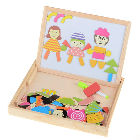 Youpin Multifunctional Writing Board Magnetic Puzzle Easel Toys Wooden Toy Sketchpad Toy Educational Toy Pairing Toys Creative Peg Puzzle Brain Game Learning Toys