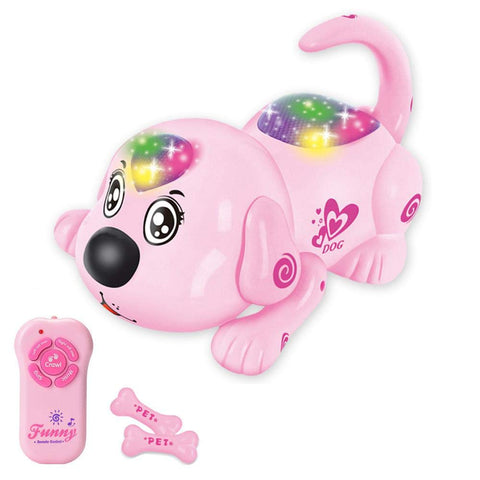 Womdee Electronic Pet Dog Toys - Interactive Puppy Toy with Remote Intelligent Robot Pet Toys for Kids, A Crawling, Singing Toy Dog - Great Gift for Children Pink