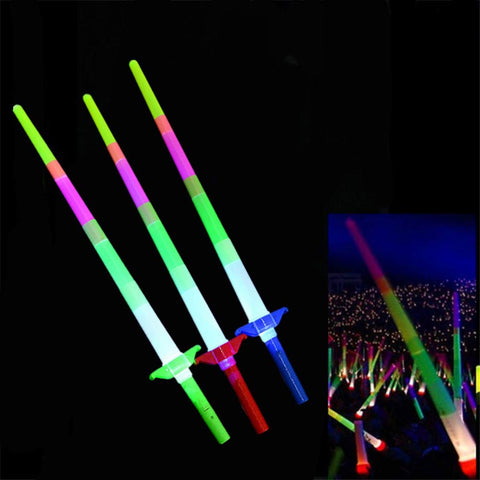Yimosecoxiang Easy Puzzle Children's Toys Retractable LED Light Flashing Glow Sticks Wands Toys Party Wedding Decoration - Random Color