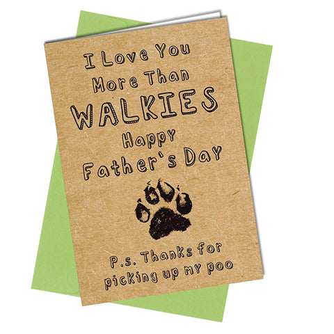 #1033 FATHERS DAY CARD From Dog - Best Dad Walkies Rude / Funny Greeting Card