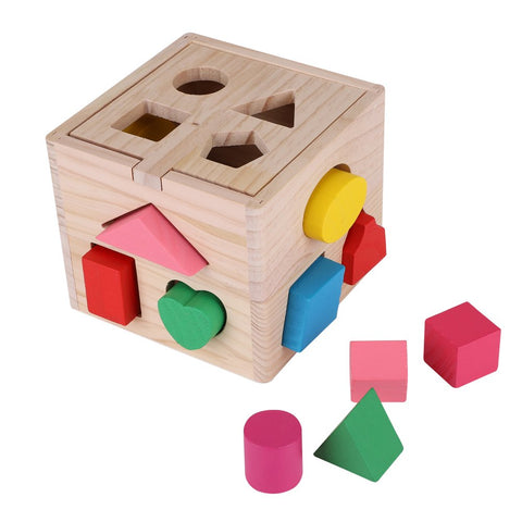 Zerodis Sorting Cube Intellectual 13 Holes Shape Box Kids Baby Educational Toys Colorful Wooden Geometry Puzzle Building Block