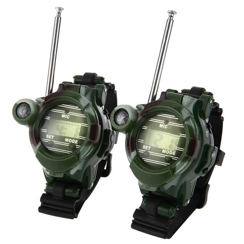Wencaimd Electronic Toys 2Pcs Kids Walkie Talkies 7 In 1 Walkie Talkie Watch Camouflage Style Children Toy Kids Electric Strong Clear Range Interphone Kids Interactive Toys for Boys Girls