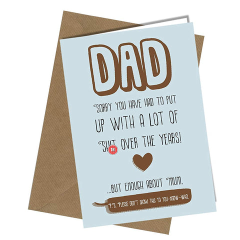 #167 Birthday or Fathers Day Card Dad Daddy Greeting Card Comedy Rude Humour