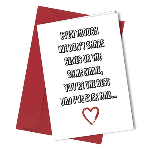 #213 Rude STEP DAD Birthday or Fathers Day greetings card funny humour cheeky A4 folded to A5 (210 x 148mm when folded) By: Close to the Bone