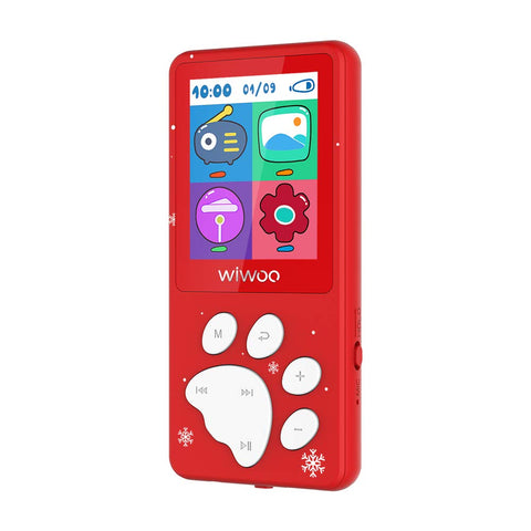 Xmas MP3 Player for kids, 8GB Digital Music Player - Buit-in Puzzle Game, Hearing Protection, Christmas Special Version
