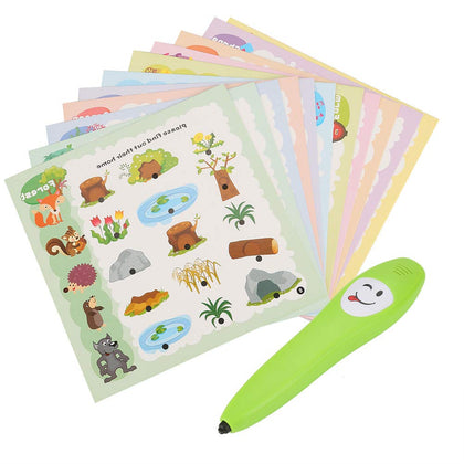 Zerodis Electric Reading Pen Common Sense Game Set Early Educational Interaction Toy Intellectual Development Cognitive Books with 12pcs Cognizable Cards