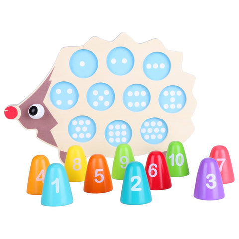 Zerodis Educational Wooden Math Toy Cartoon DIY Colorful Hedgehog Matching Numeral Infant Baby Children Birthday Gift