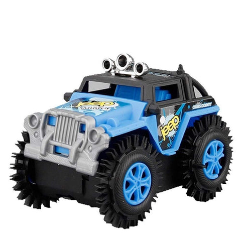 Yiqiane Educational Toys Children's Electric Stunt Flip Toy Car Cartoon Puzzle Dump Truck Off-road Rock Climber Climbing Vehicle(Color:Blue) for Babies Kids Children