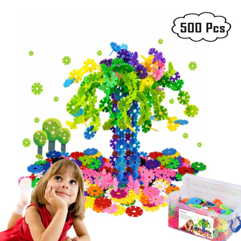 Zzurcca 500 Pieces Block Toy Creative and Educational Building Snowflakes Connect Interlocking Plastic Disc