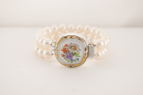 Antique Porcelain Bracelet Double Strand 103