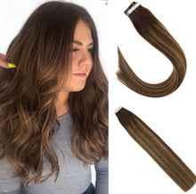 Load image into Gallery viewer, #4/27/4 Balayage Brown Highlighted Caramel Blonde Human Hair Tape In Extensions