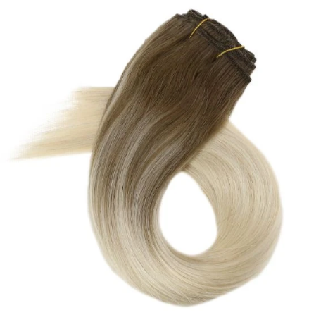 Balayage Clip in Human Hair Extensions Brown with Blonde #9a/60