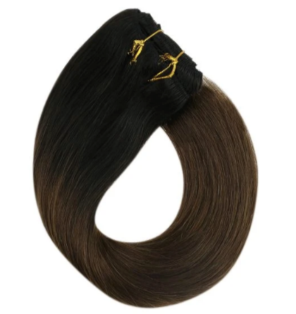 Balayage Clip in Human Hair Extensions Ombre Black to Dark Brown #T1/4