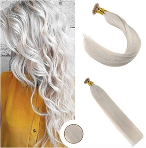 #60 Lightest Blonde Straight Human Hair I tip Extension
