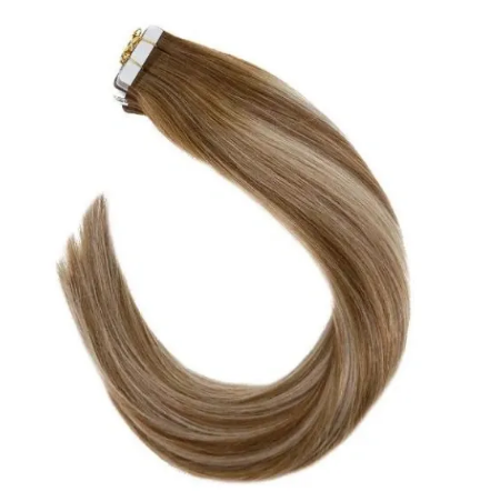 #76/60P6 Balayage Brown Highlighted Bleach Blonde Human Hair Tape In Extensions